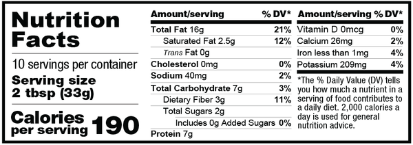 12oz Peanut Pro Crunchy Nutrition Facts