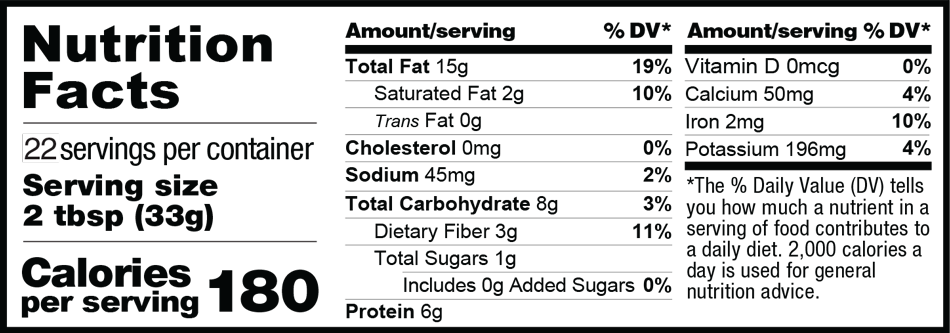 26 oz. Organic Power Fuel Nutrition Facts
