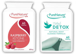 Pure Raspberry Ketones 1200mg Daily Serving plus Total Detox Colon Cleanse