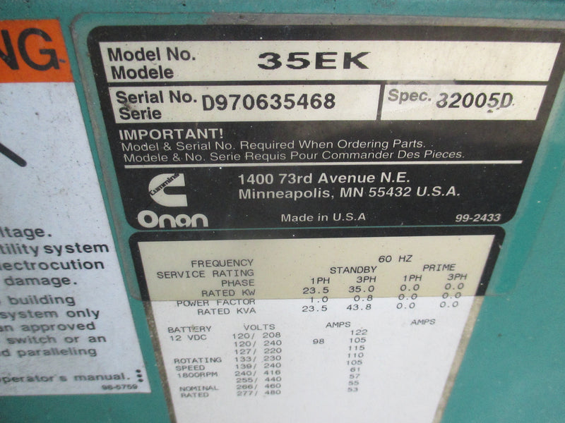 Onan 35KW Genset Propane LPG Generator Standby Duty 120v to 480V 1 or 3 PH