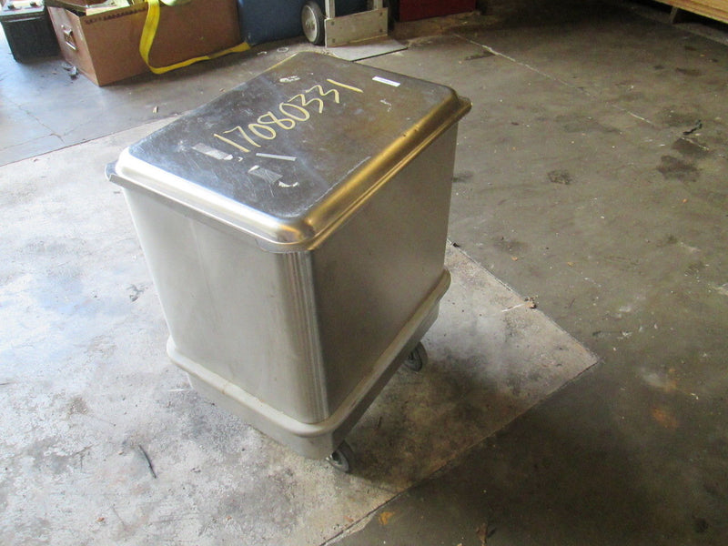 (2) Piper 40 Gal. Mobile Ingredient Bin  Stainless Steel w/ Sliding Cover 150LBS - Business Equipment World