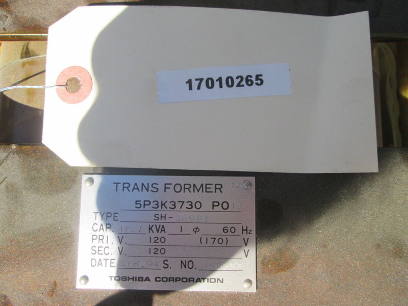 Toshiba 5P3K3730 PO19 Type SH-36997 Power Transformer 16.7 KVA Cap. 60Hz 120V - Business Equipment World