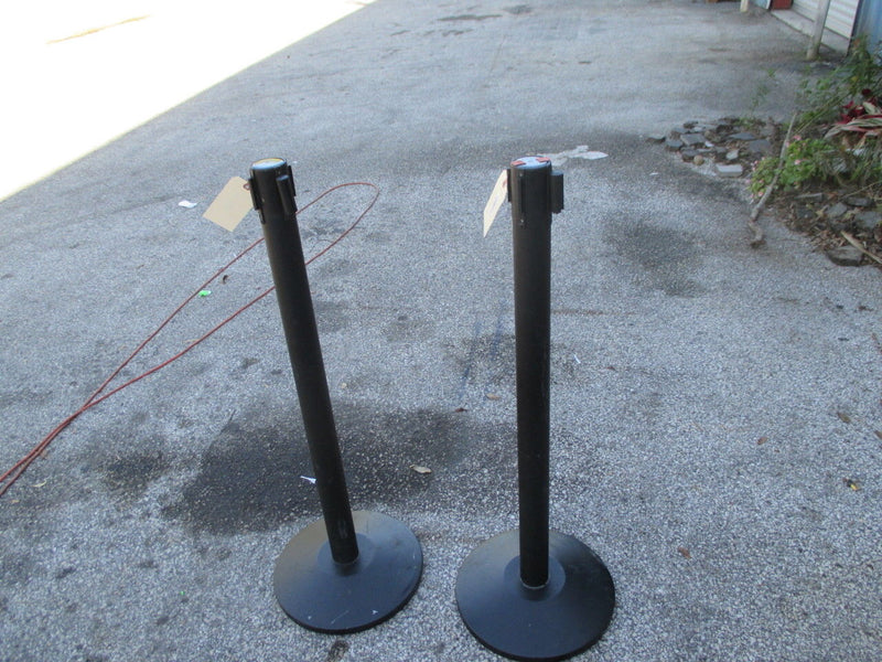 (2) Alvarado Quick Retractable Queue Black Stanchion Posts Crowd Control Barrier - Business Equipment World
