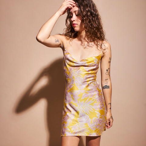 Tropical Slip Dress - Champagne Yellow