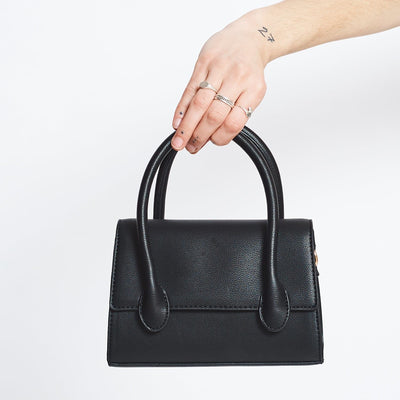 Black Structured Mini Handbag