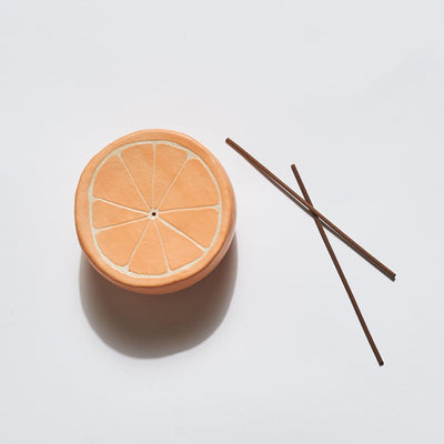 Citrus Incense Holder Ceramic - Clay - Handmade - Incense -