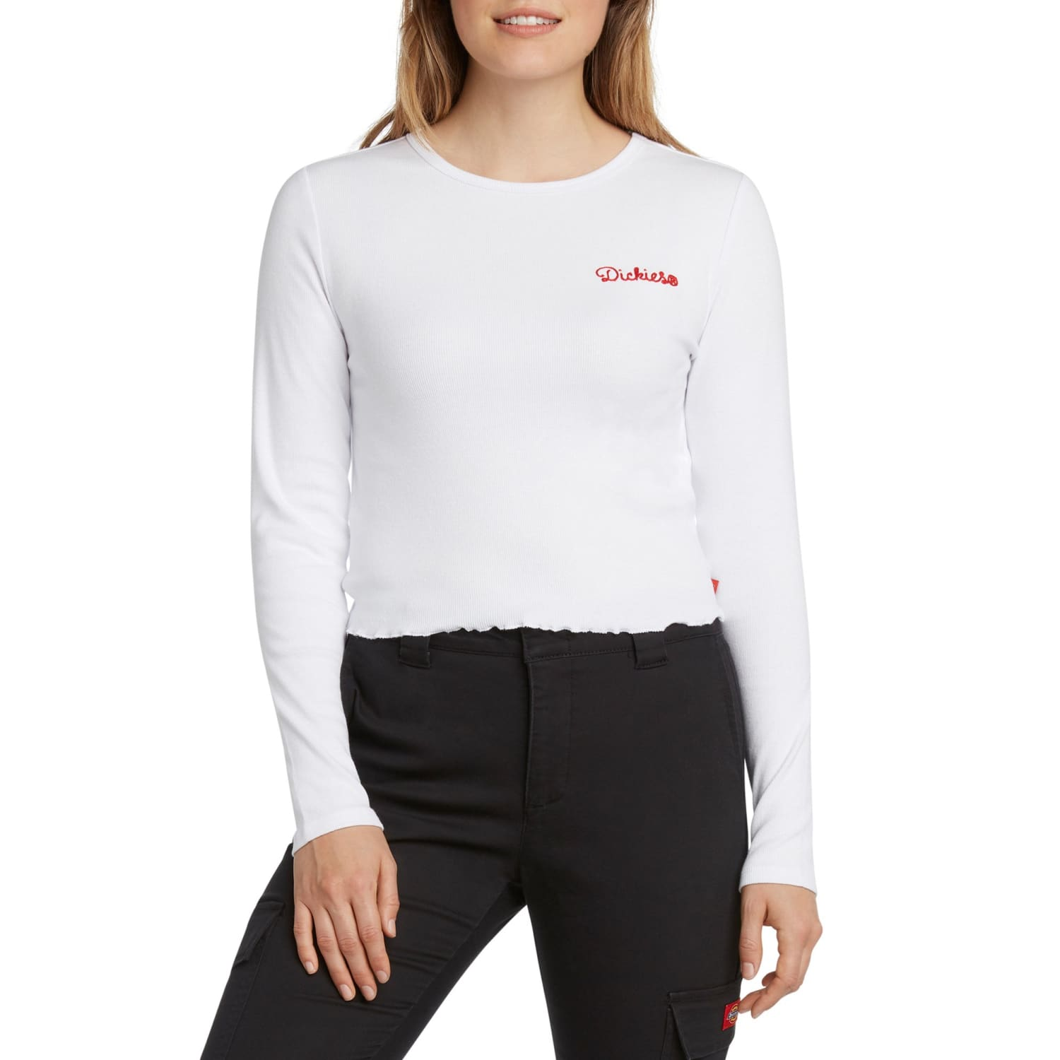Dickies Girl Long Sleeve Baby Tee - White Girl, new Dickies,