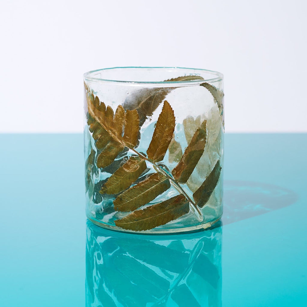 Enameled Fern Vessel Ferns - Glass - Vessel - Home Decor -