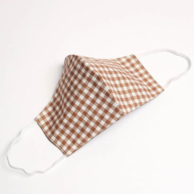 Gingham Cotton Face Mask - Beige