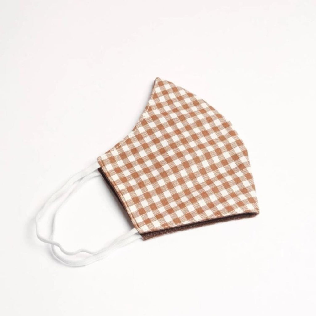 Gingham Cotton Face Mask - Beige Beige, Covid, Face Mask,