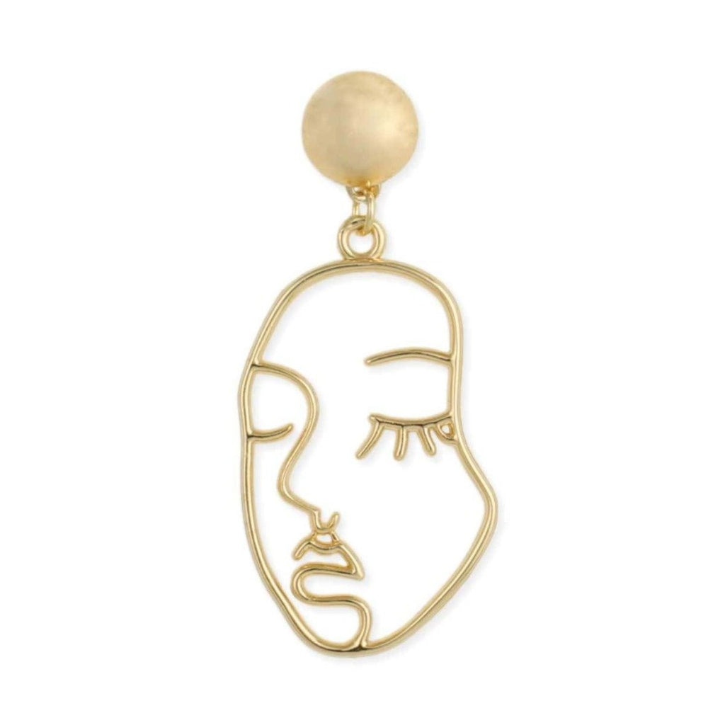 Gold Plated Face Earrings Cutout Earrings, Dangle, Dangle