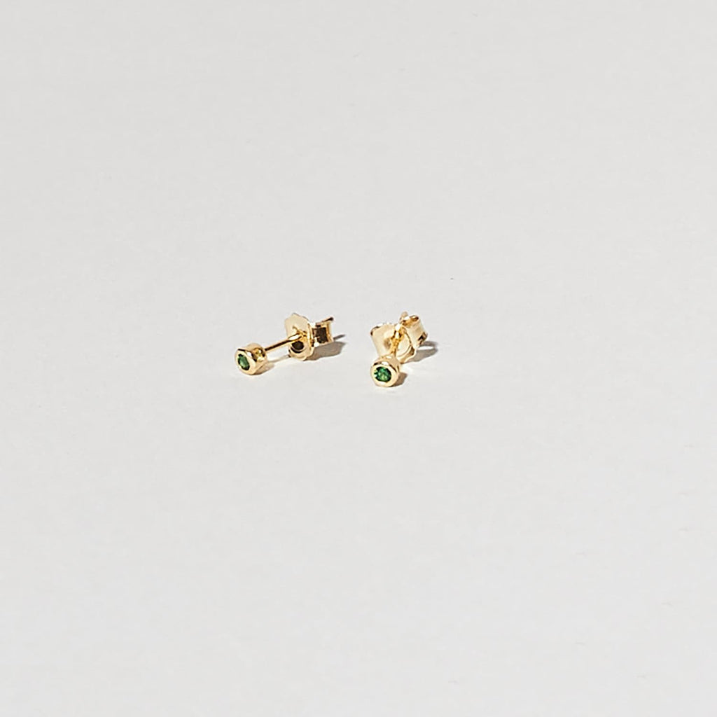 Gold Plated Gem Studs Green Misc., new Earrings, Sale