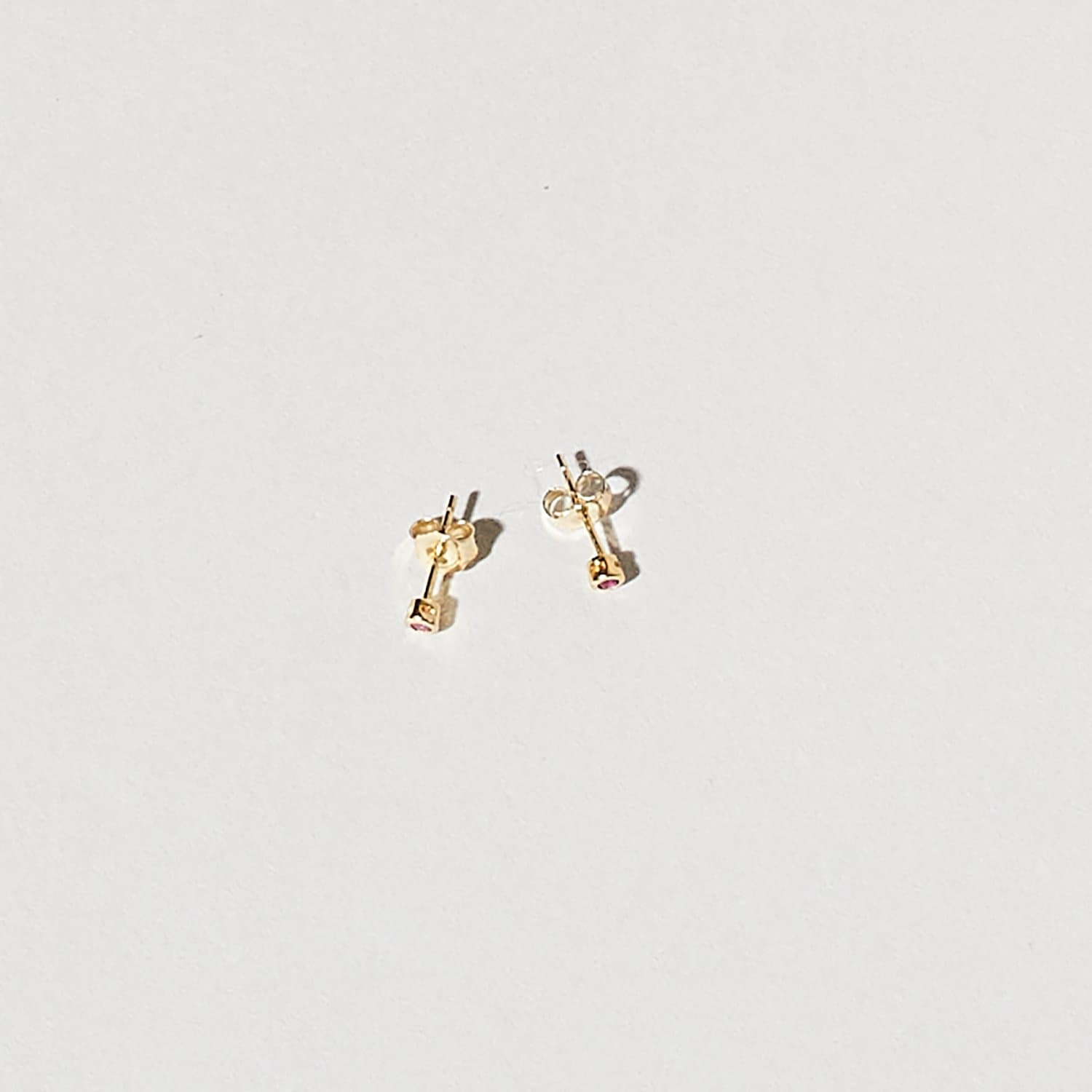 Gold Plated Gem Studs - Pink Gold Earring, Earrings, Stud,