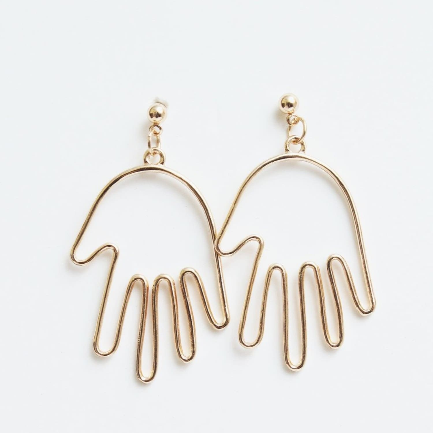 Hand Earrings Earrings, Gold, Hands, Pulp Girls, Wire