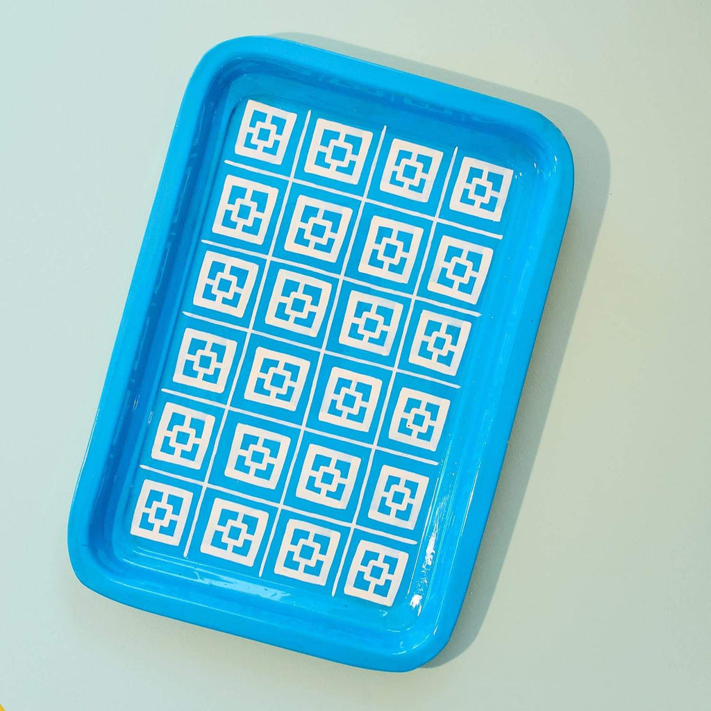 Large Blue Painted Tray Boho Home - Cute N Collected Xmas -