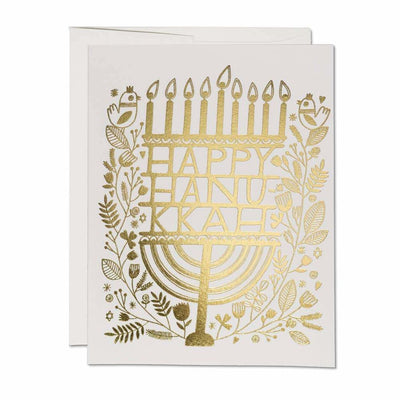 Happy Hanukkah Gold Foil Holiday Card