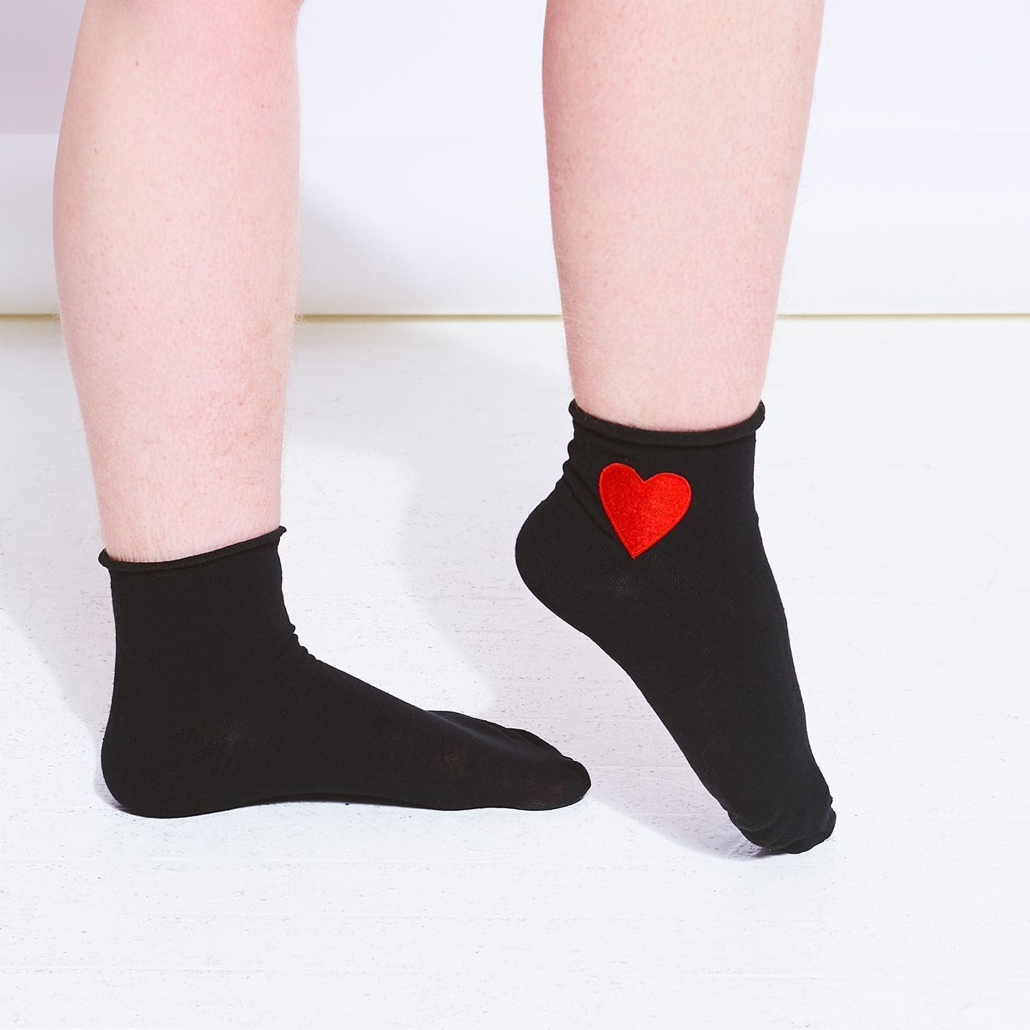 Heart Ankle Socks - Black 90s, Black, Black and Red Socks,