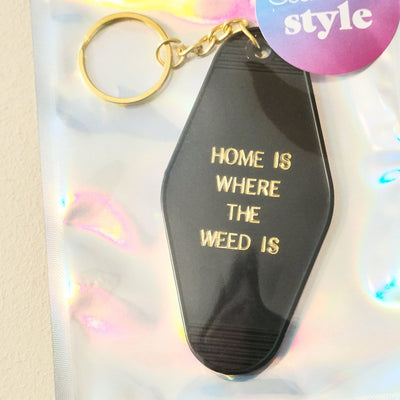 Home is where the Flower Keychain Black and Gold Keychain,