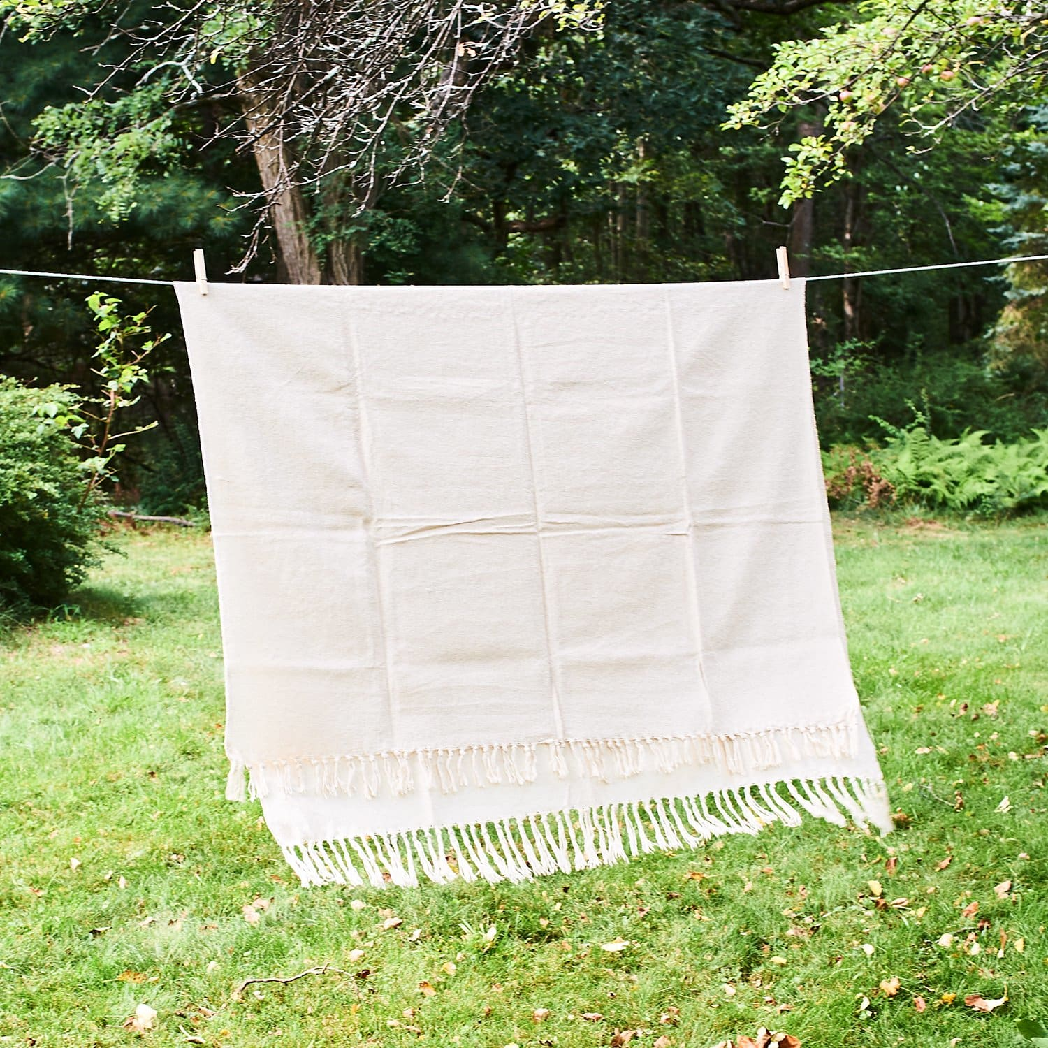 Indian Handwoven Throw - Cream Blanket - Cream - Home
