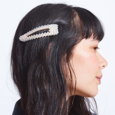 Large Champagne Beaded Hair Clip
