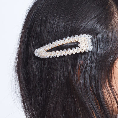 Large Champagne Beaded Hair Clip Beaded, Beaded Barrette,