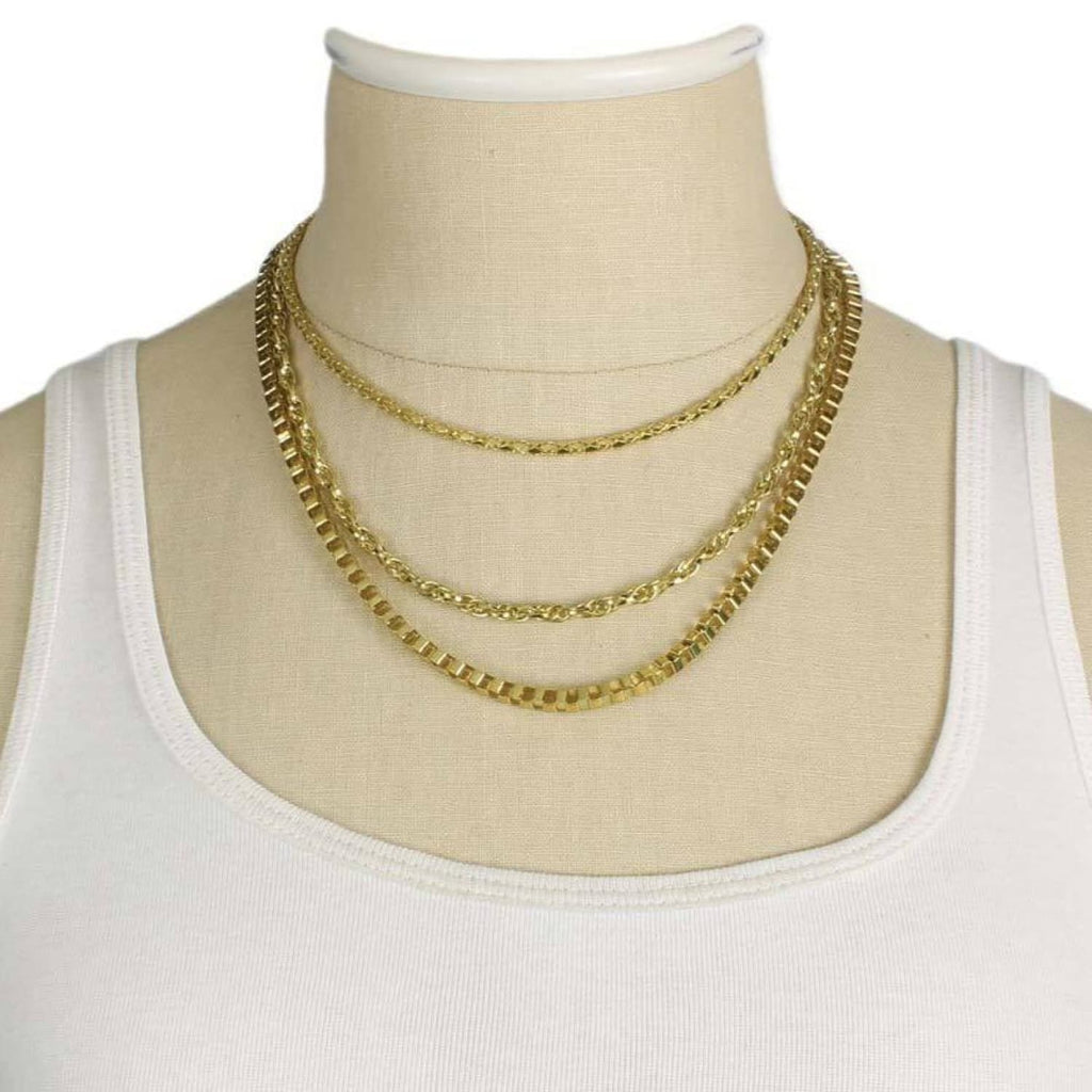 Layered Chain Necklaces Chain, Edgy, Gold Jewelry, Plated,