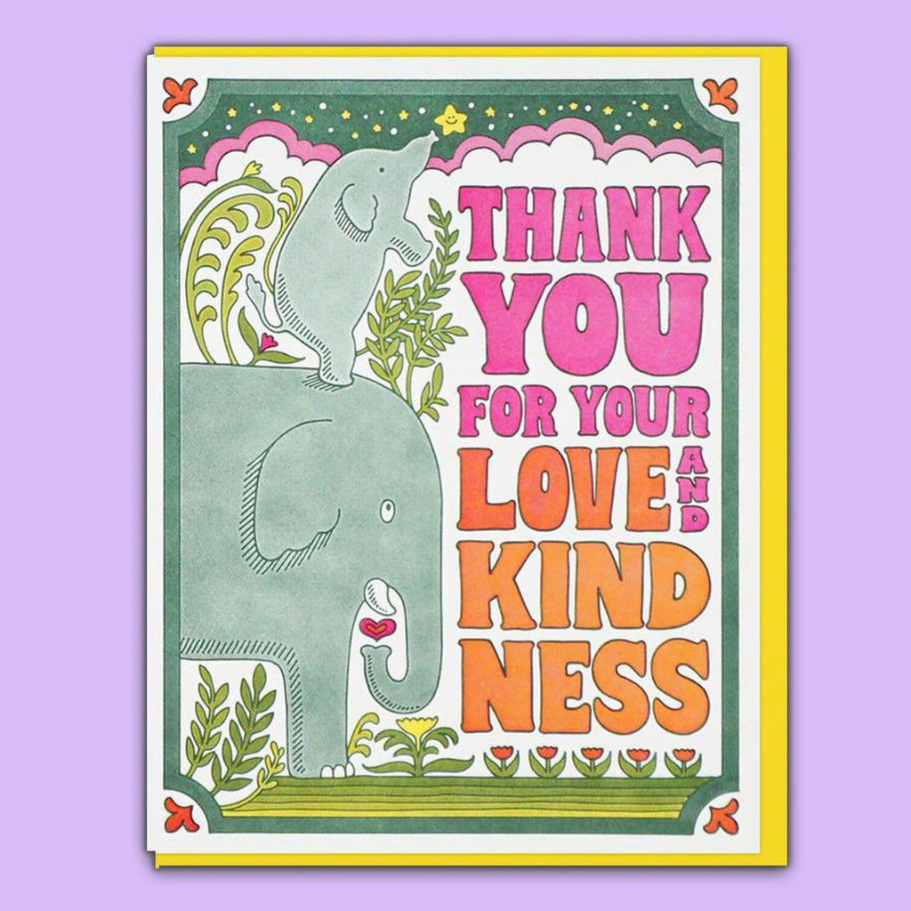 Love & Kindness thank you Greeting Card Elephant -