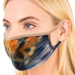 Navy Tie Dye Face Mask Dead Head, Face Mask, Mask Safety,