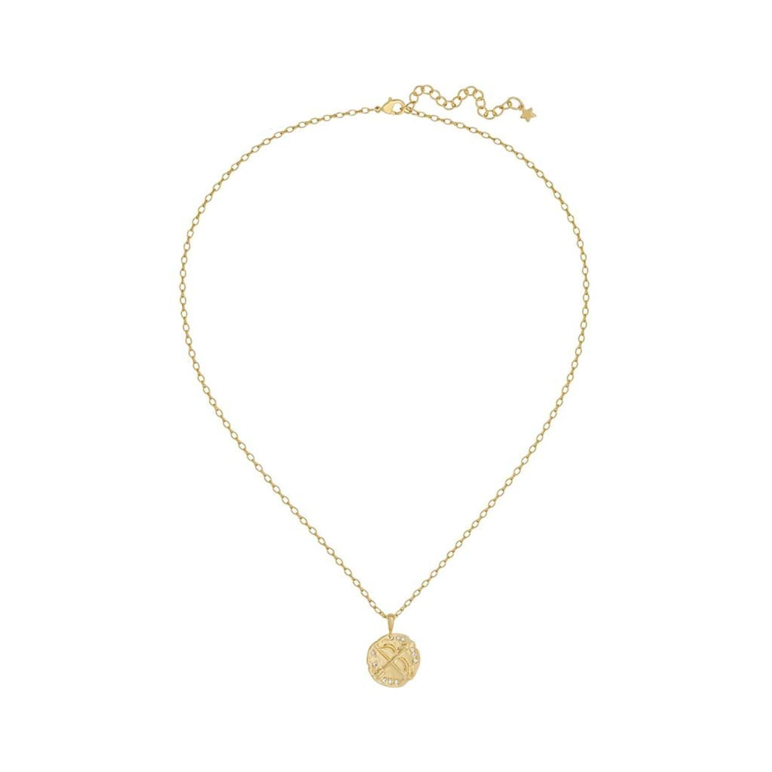 Olympia Necklace Coin, Coin Charm, Cubic Zirconia, Gold