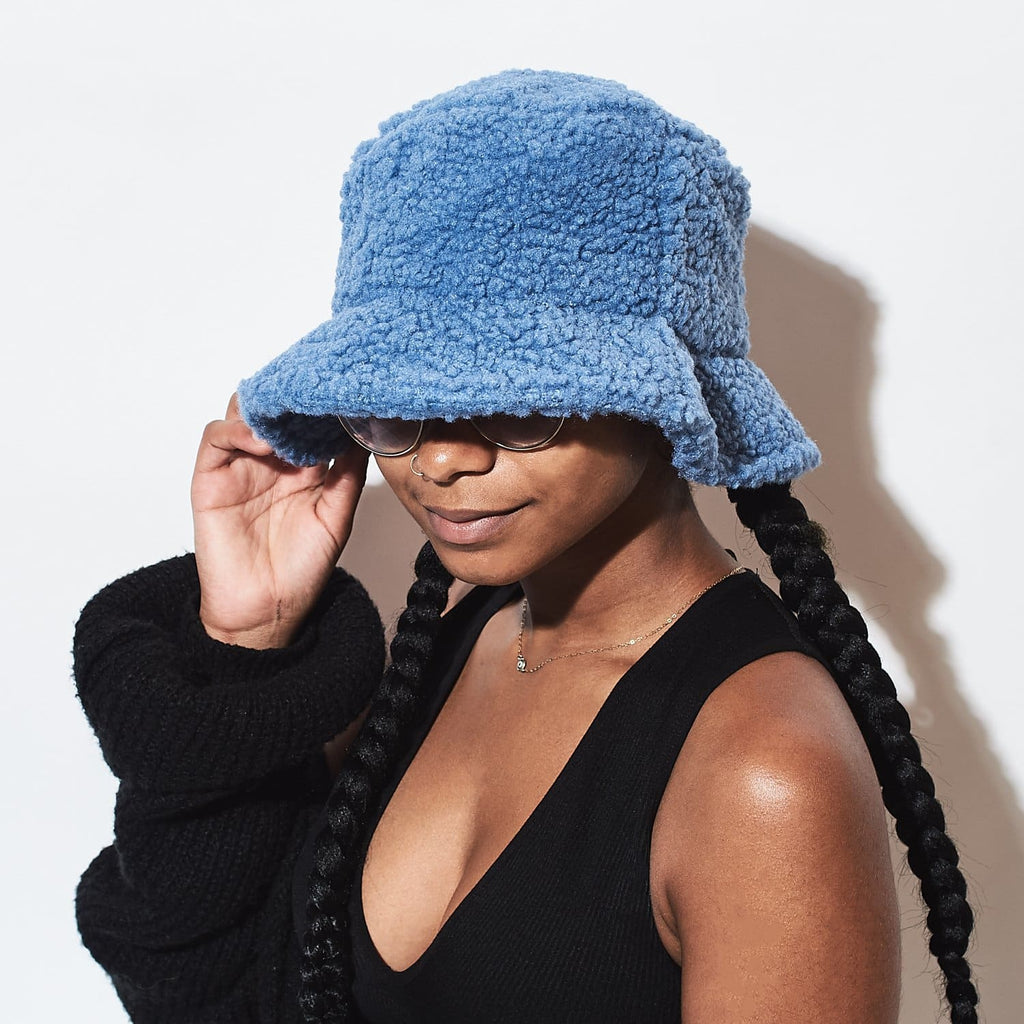 Paige Furry Bucket Hat - Blue 90s - Baby - Bucket Hat -