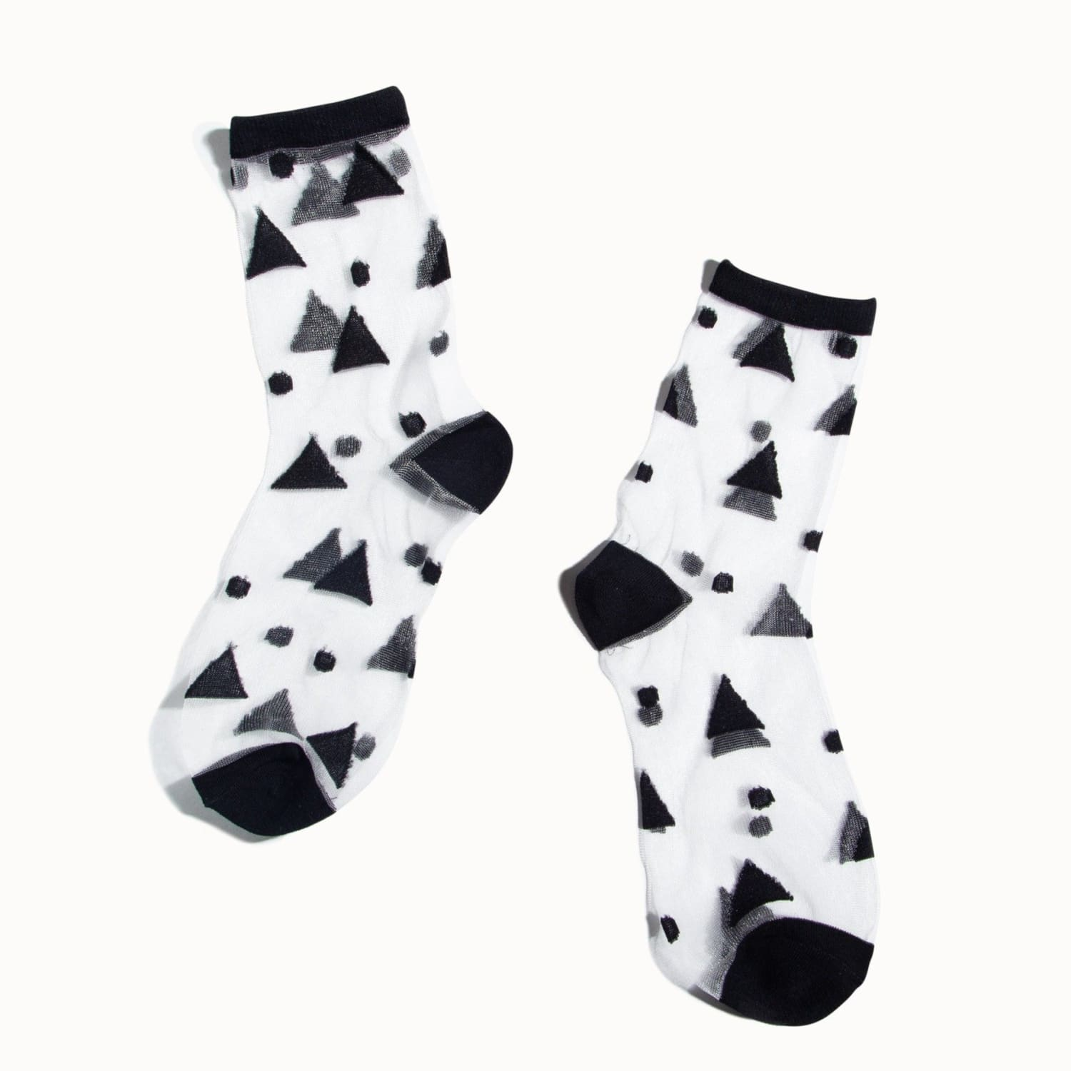 Poketo Sheer Black Triangles Socks Multi Color, Outlines,