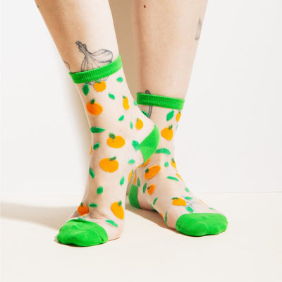 Poketo Sheer Oranges Socks Poketo, Poketo Socks, Sheer Socks