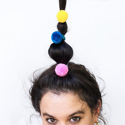 Pompom Hair Ties Multicolored Bright, Colorful, Hair