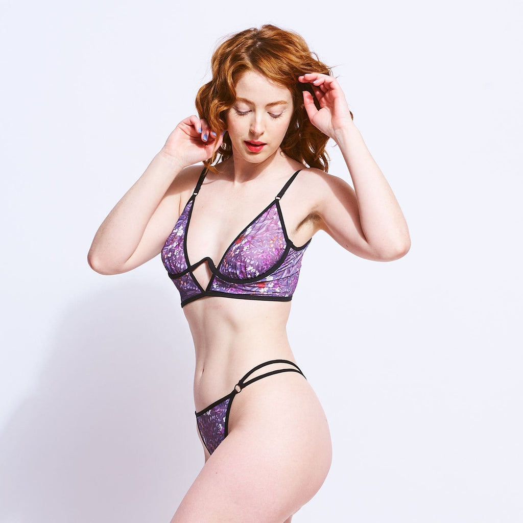 Printed Mesh Bralette - Purple 90s, Friends Nyc, Gift Guide,