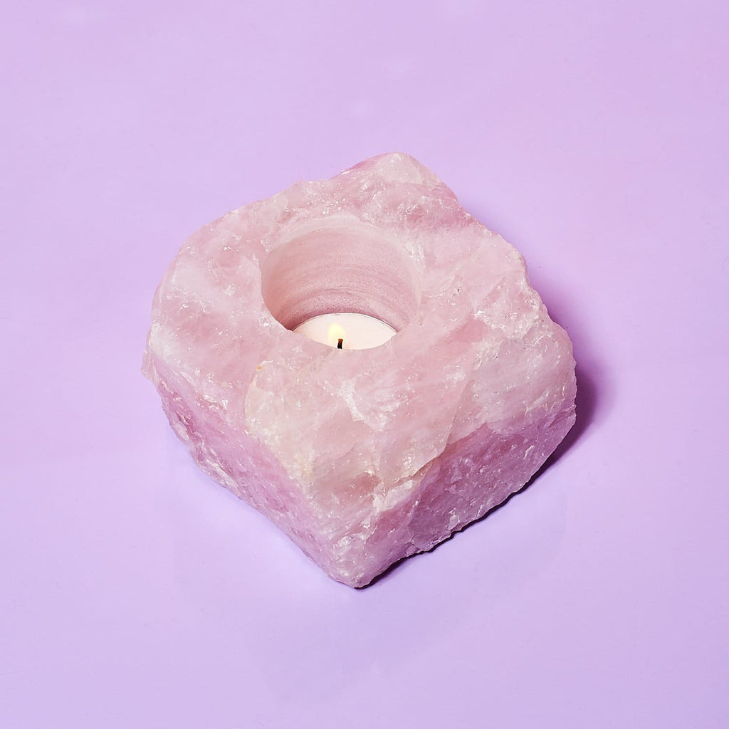 Rose Quartz Tealight Candle Holder Candle Holder - Crystal