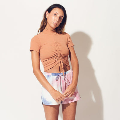 Ruched Crop Rust Tee Basic Tee - Crop top - Ruched - Rust -