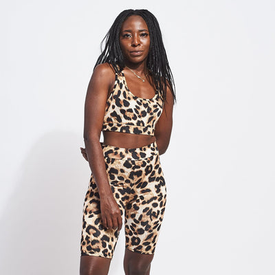 Scoop Neck Crop Tank- Leopard