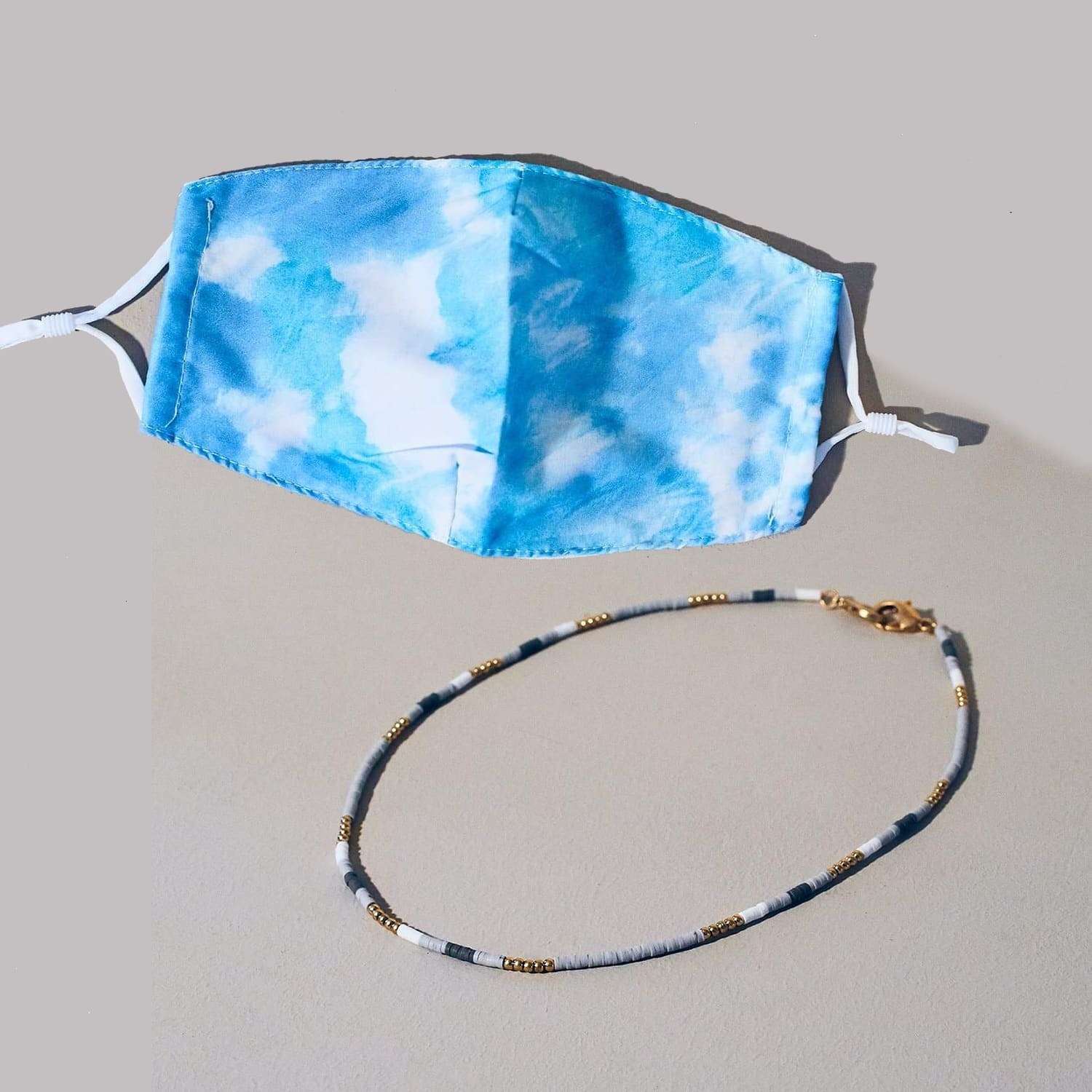 Sky Blue Tie Dye Face Mask + Chain Deluxe Duo Dead Head -