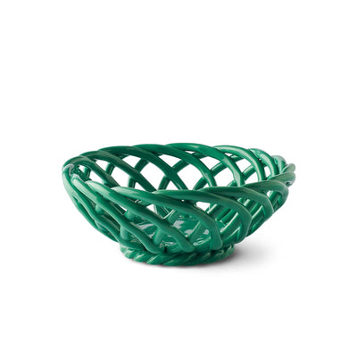 Small Ceramic Basket - Green