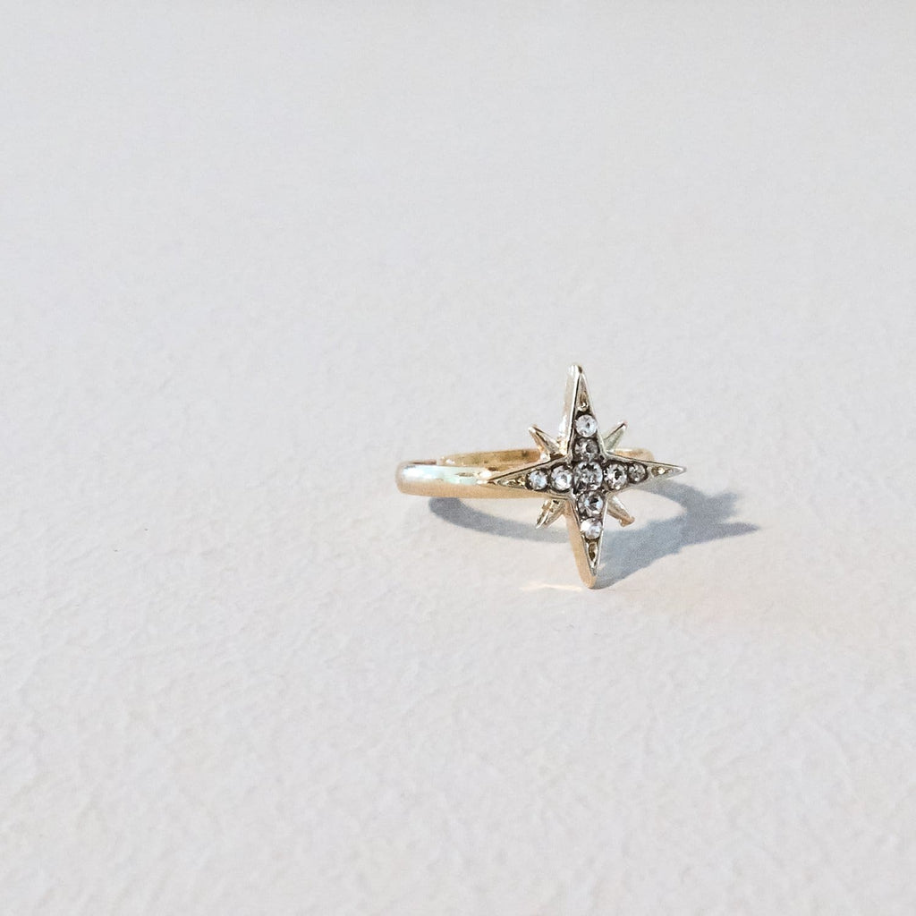 Star Crystal Ring Gold Plate, Ring, Jewelry, Silver Ring