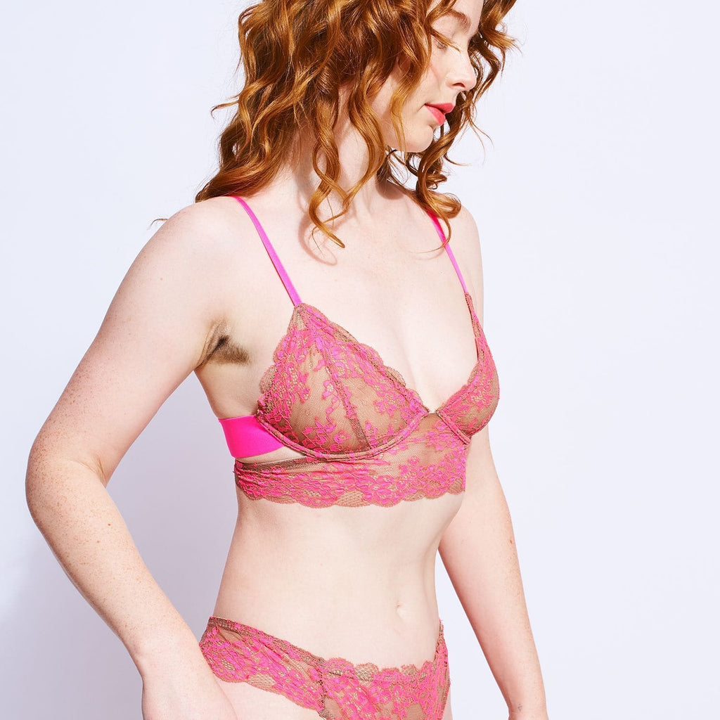 Wild Lace Longline Bra - Neon Pink Gift Guide, Lace,