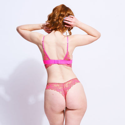 Wild Lace Thong - Neon Pink