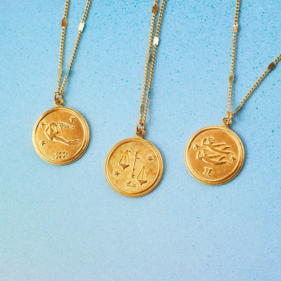 Zodiac Medallion Necklace Aquarius, Aries, Astrology
