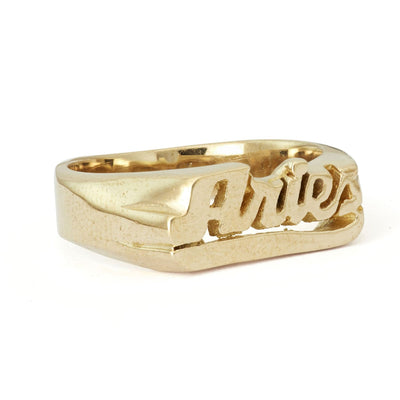 Zodiac Nameplate Rings - Brass Aquarius, Aries, Brass,