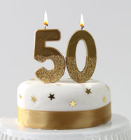 Gold Glitter Number Birthday Candles Starter Set - Numbers 0-9