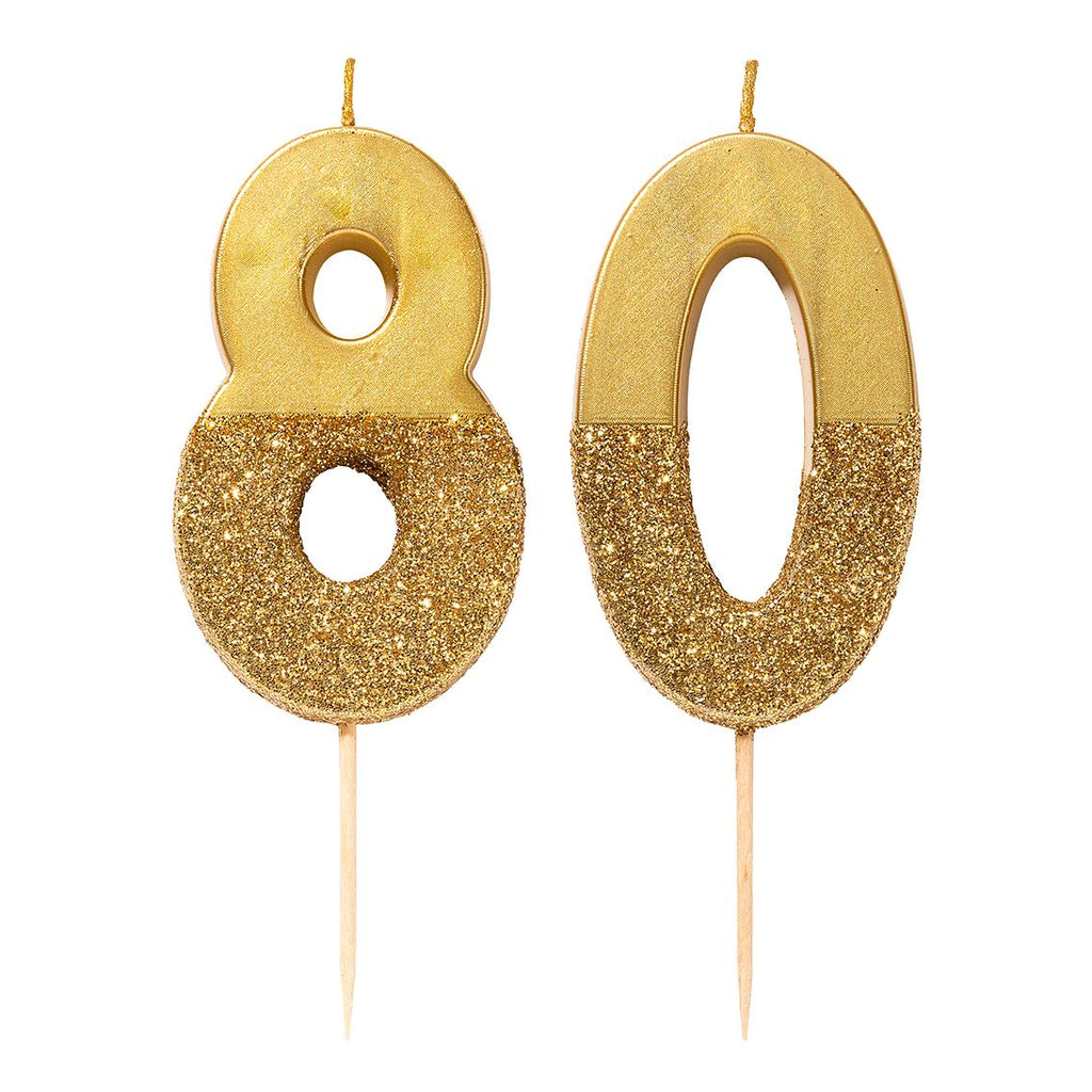 We Heart Birthdays Gold Glitter Number Candle 8