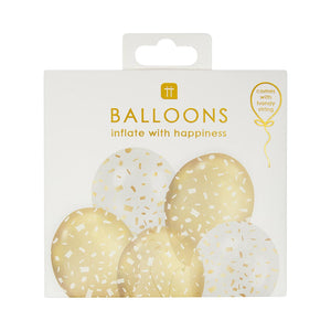 White and Gold Confetti Balloons