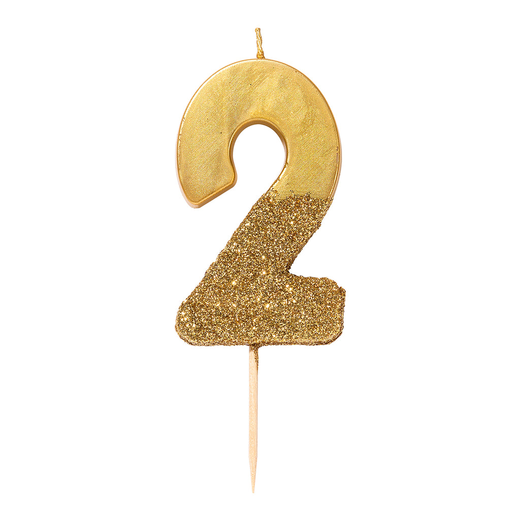 We Heart Birthdays Gold Glitter Number Candle 2