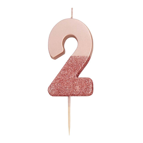 We Heart Birthdays Rose Gold Glitter Number Candle 2