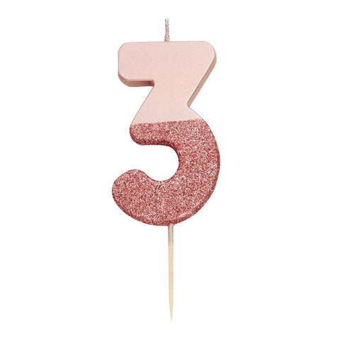 We Heart Birthdays Rose Gold Glitter Number Candle 3